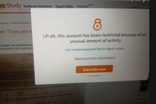 Chegg帐户被锁不能用了被认定为共享账户了,怎么办?
