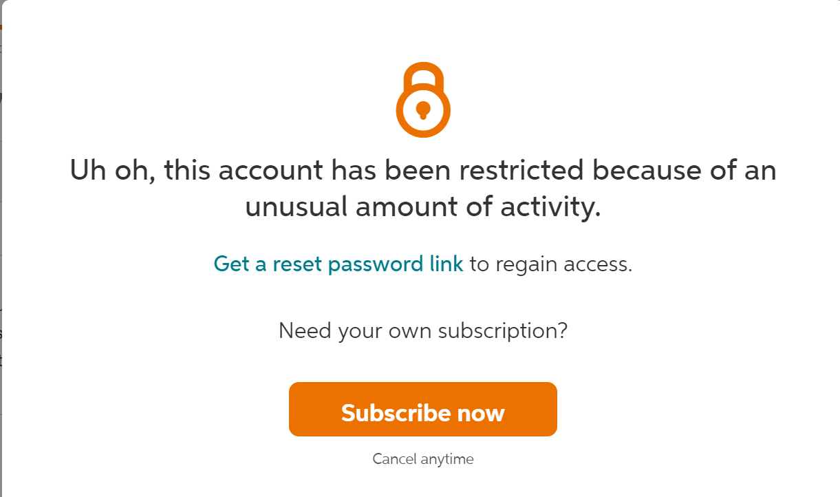 Chegg Account Suspended for Suspicion of Sharing